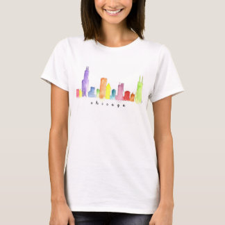 Women's White Chicago Watercolor T-shirt