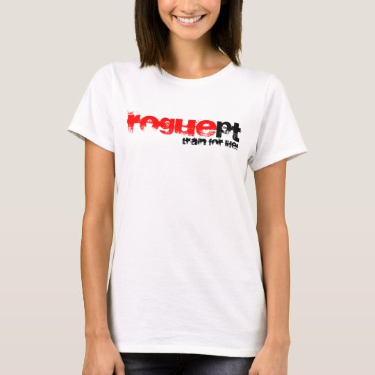 Womens white fitted RoguePT shirt