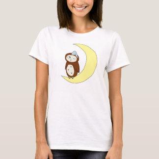 Women's white Night Owl large logo Tee w/n