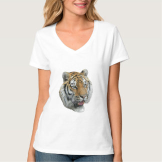 Womens White Tshirt With Wild Tiger Head