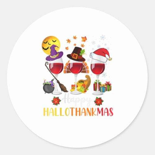 Womens Wine Halloween Thanksgiving Christmas Classic Round Sticker