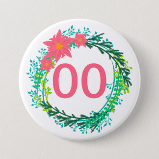 Women's Wreath 91st 92nd 95th 98th 99th Birthday Pinback Button