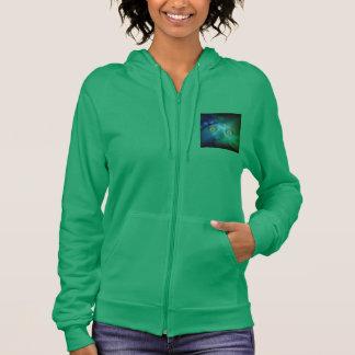 Women's Zip Hoodie w. Green Digital Moon Creature