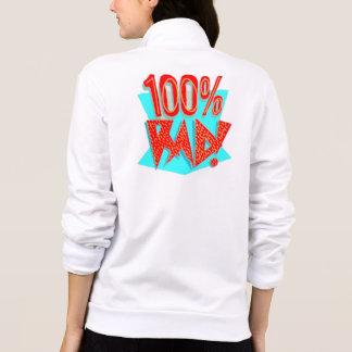 Women's Zip Hoodie, White, 100% RAD! Retro Cool Printed Jacket