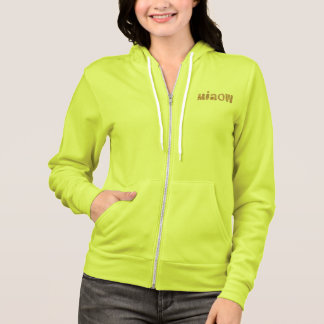 Women's zip hoodie with 'miaow'
