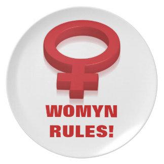 WOMYN RULES! MELAMINE PLATE