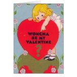 """Woncha be my Valentine?"" Vintage Greeting Card"