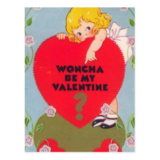 """Woncha be my Valentine?"" Vintage Postcard"