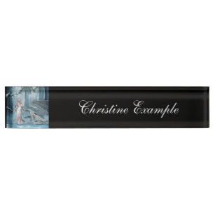Wondeful fairy with dragon desk name plate