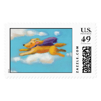 Wonder Dog - flying spaniel retriever with cape Stamp