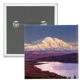 Wonder Lake and Mt. Denali at sunrise in the 2 Inch Square Button