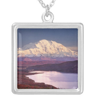 Wonder Lake and Mt. Denali at sunrise in the Square Pendant Necklace