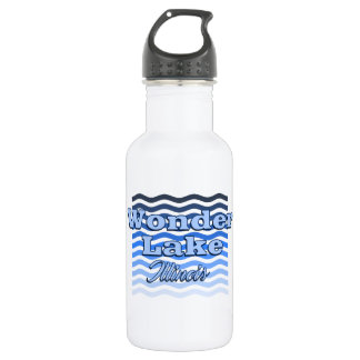 Wonder Lake Blue Wave Water Bottle (18 oz), White