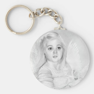 Wonder Little Angel Girl with white Dove Keychain