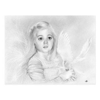 Wonder Little Angel Girl with white Dove postcard