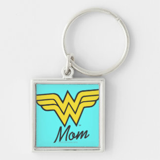 Wonder Mom Classic Silver-Colored Square Keychain