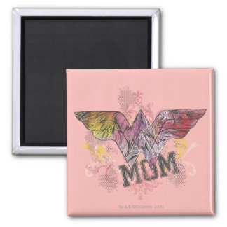 Wonder Mom Mixed Media 2 Inch Square Magnet