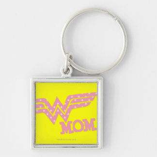 Wonder Mom Pink Silver-Colored Square Keychain