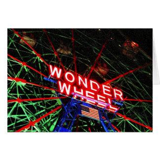 'Wonder Wheel Neon' Blank Greeting Card