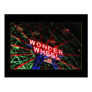 Wonder Wheel Neon Coney Island NY postcard