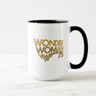 Wonder Woman 75th Anniversary Gold Logo Mug