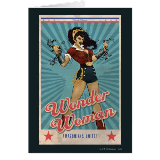Wonder Woman Amazonians Unite Vintage Poster Card