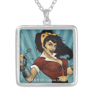 Wonder Woman Amazonians Unite Vintage Poster Silver Plated Necklace