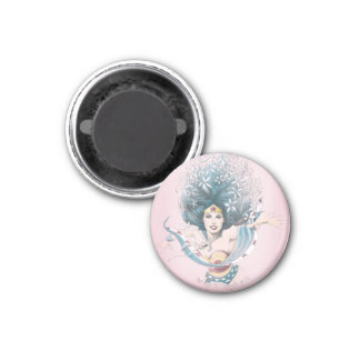 Wonder Woman and Flowers 1 Inch Round Magnet