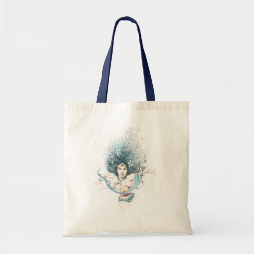 Wonder Woman and Flowers Canvas Bags