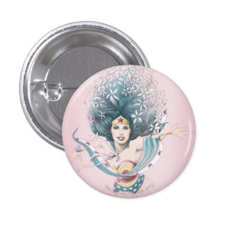 Wonder Woman and Flowers 1 Inch Round Button