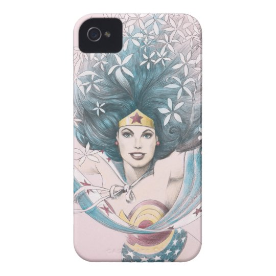 Wonder Woman and Flowers Case-Mate iPhone 4 Case