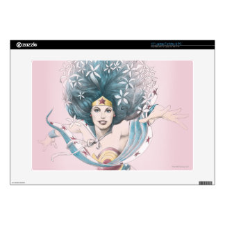 "Wonder Woman and Flowers Decal For 15"" Laptop"