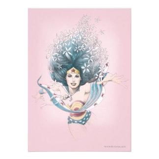 Wonder Woman and Flowers Custom Invites
