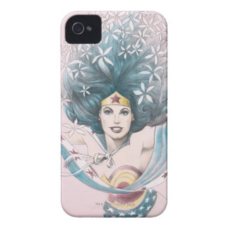 Wonder Woman and Flowers iPhone 4 Case
