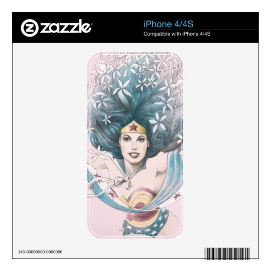 Wonder Woman and Flowers iPhone 4 Skins