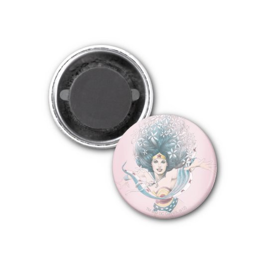Wonder Woman and Flowers Magnet