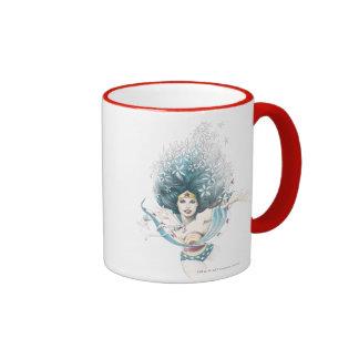 Wonder Woman and Flowers Coffee Mugs