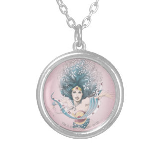 Wonder Woman and Flowers Round Pendant Necklace