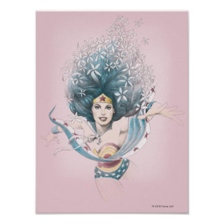 Wonder Woman and Flowers Posters