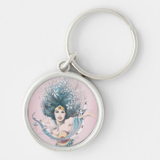 Wonder Woman and Flowers Silver-Colored Round Keychain