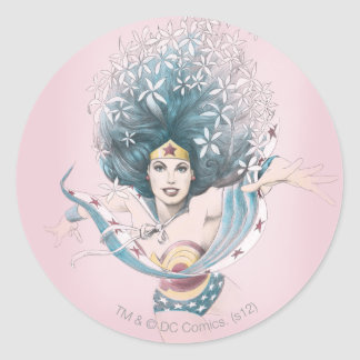 Wonder Woman and Flowers Round Stickers
