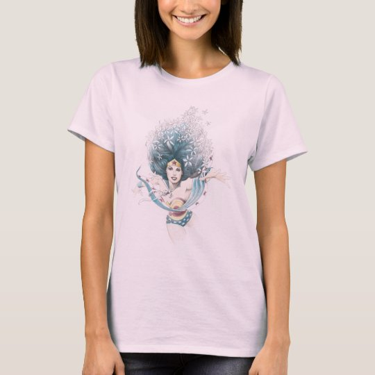 Wonder Woman and Flowers T-Shirt