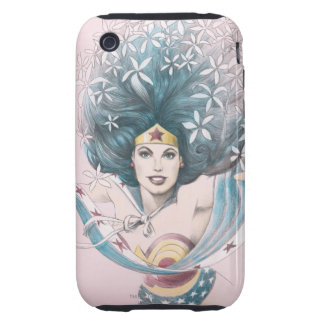 Wonder Woman and Flowers Tough iPhone 3 Case