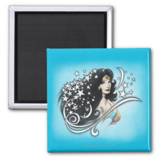 Wonder Woman and Stars 2 Inch Square Magnet
