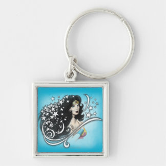 Wonder Woman and Stars Silver-Colored Square Keychain