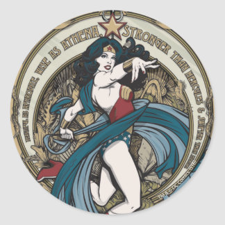 Wonder Woman Art Nouveau Panel Classic Round Sticker