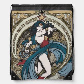 Wonder Woman Art Nouveau Panel Drawstring Backpack