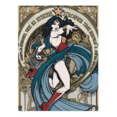 Wonder Woman Art Nouveau Panel Postcard at Zazzle