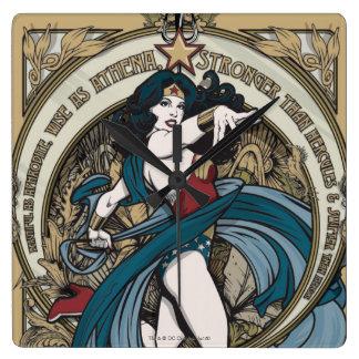 Wonder Woman Art Nouveau Panel Square Wall Clock