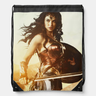 Wonder Woman At Sunset Drawstring Bag